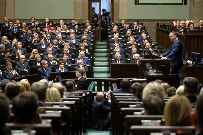 President Andrzej Duda addresses Poland's lower house of parliament. Photo: PAP/Paweł Supernak