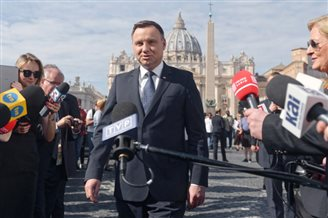 Poland's president marks anniversary of Polish pope's pontificate