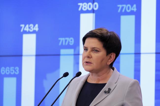 Вице-премьер Беата Шидло во время пресс-конференции на тему забастовки учителей