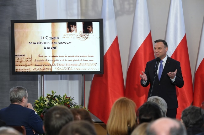 President Andrzej Duda speaks during the ceremony at Warsaw's Belweder Palace on Tuesday. Photo: PAP/Radek Pietruszka