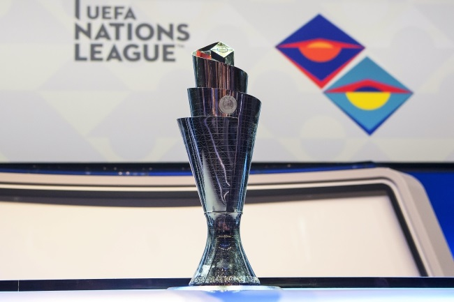 The UEFA Nations League trophy on display during the group-stage draw in Lausanne, Switzerland, on Wednesday. Photo: EPA/JEAN-CHRISTOPHE BOTT