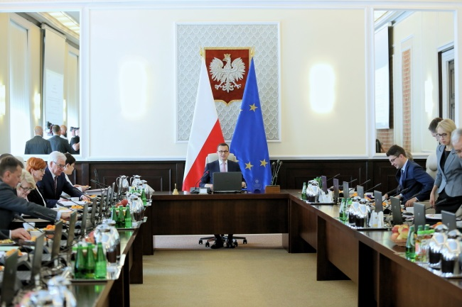 Polish government ministers, led by Prime Minister Mateusz Morawiecki (centre), gather for a Cabinet meeting in Warsaw on Wednesday. Photo: PAP/Leszek Szymański