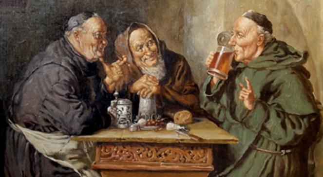 Монахи, пьющие пиво, Артуро Петрочели (1856-1916), Неаполь.