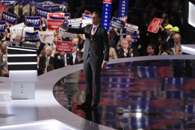 Eric Trump reacts after speaking during the third day of the 2016 Republican National Convention at Quicken Loans Arena in Cleveland, Ohio, USA, 20 July 2016. Photo: EPA/TANNEN MAURY