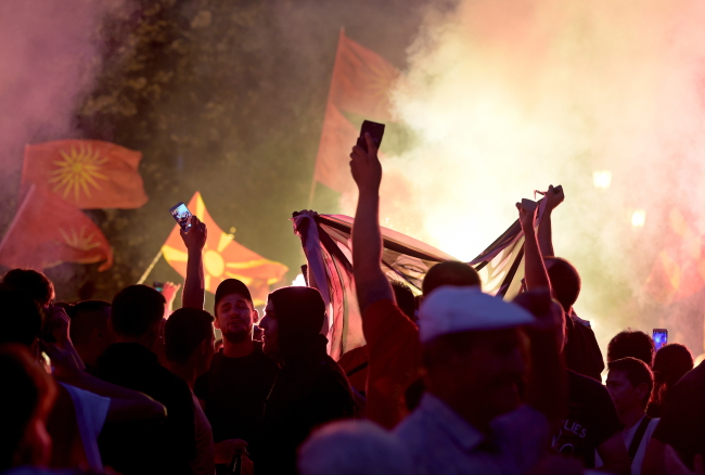 Protesters in Skopje oppose plans to change their country's name. Photo: EPA/NAKE BATEV