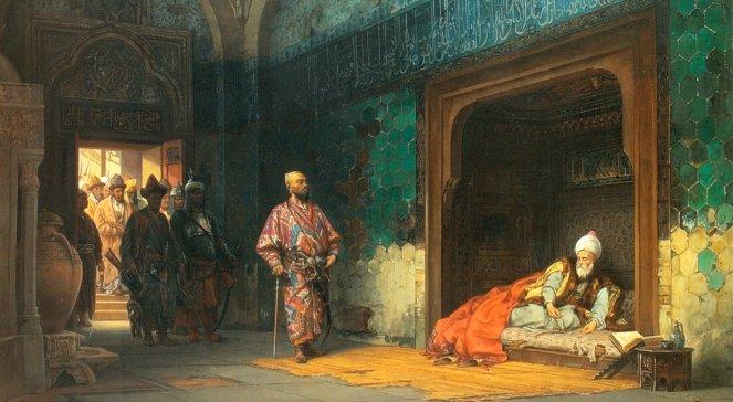 Станислав Хлебовский, Пленение Баязида Тимуром (1878). Хлебовский в 1864-1876 гг. был придворным художником турецкого султана Абдул-Азиза