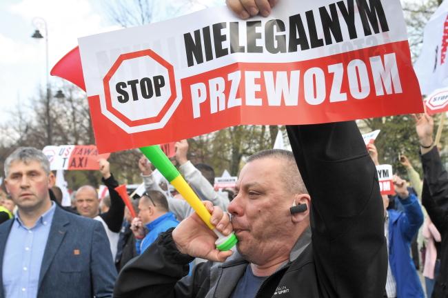 Акция протеста таксистов в Варшаве