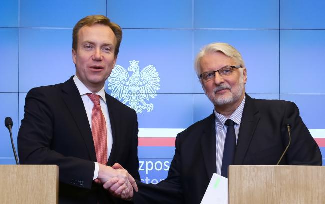 Minister spraw zagranicznych Norwegii Borge Brende i szef dyplomacji Polski Witold Waszczykowski