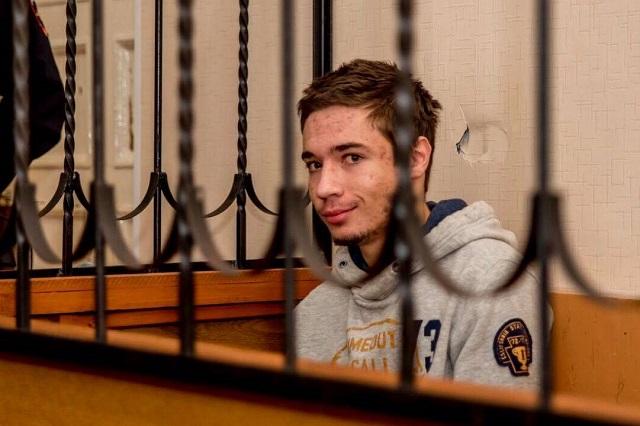 Павал Грыб на судовым паседжаньні. 18 кастрычніка 2017 г. Фота прадстаўлена адвакатам Андрэем Сабініным.