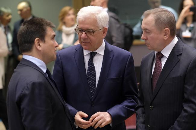 Ukrainian FM Pavlo Klimkin, Polish FM Jacek Czaputowicz and Belarusian FM Vladimir Makei in Brussels on Monday