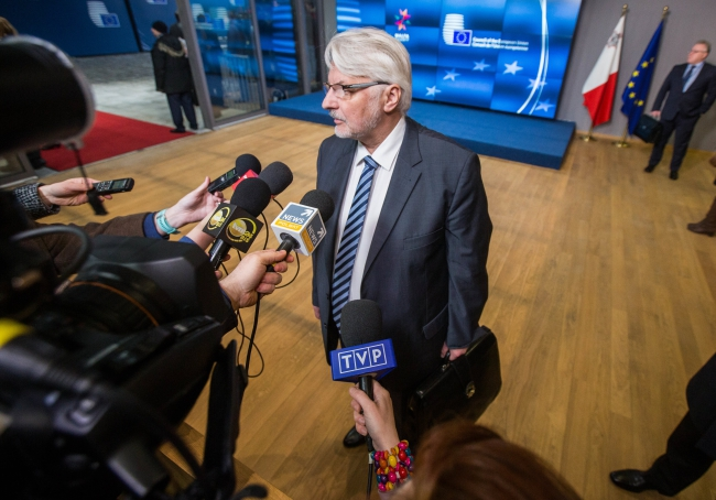 Polish Foreign Minister Witold Waszczykowski speaks to the press ahead of the European Union (EU) Foreign Affairs Council in Brussels, Belgium. Photo: EPA/STEPHANIE LECOCQ