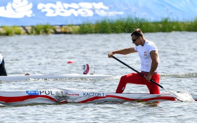 Poland's Tomasz Kaczor in action during the men's C1 1000 metres at the Zaslavl Regatta Course near Minsk on Wednesday.