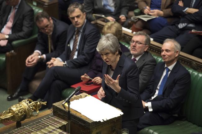 Премьер-министр Великобритании Тереза Мэй выступает в Палате общин в Вестминстерском дворце