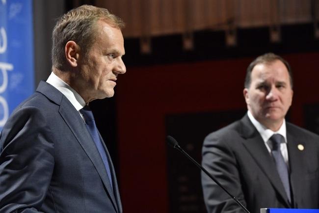 European Council President Donald Tusk (left) pictured during an EU summit in Gothenburg, Sweden, on Friday. Photo: EPA/JONAS EKSTROEMER