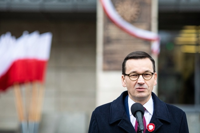 Poland's Prime Minister Mateusz Morawiecki speaks in the western city of Poznań on Thursday. Photo: PAP/Marek Zakrzewski