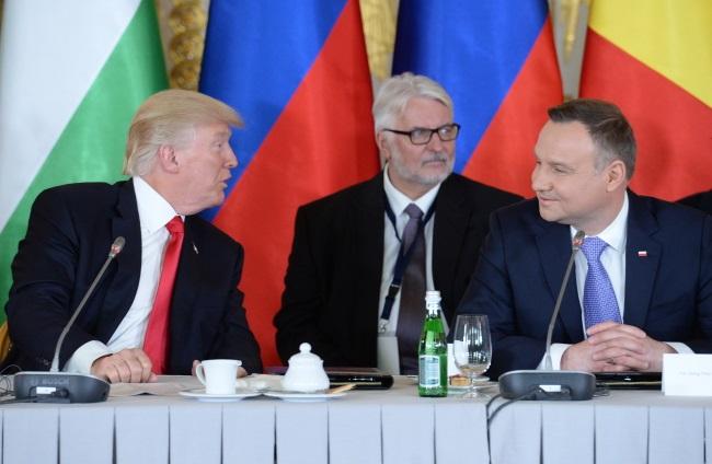 Donald Trump, Polish Foreign Minister Witold Waszczykowski and Andrzej Duda at a Three Seas meeting in Warsaw. Photo: PAP/Jacek Turczyk