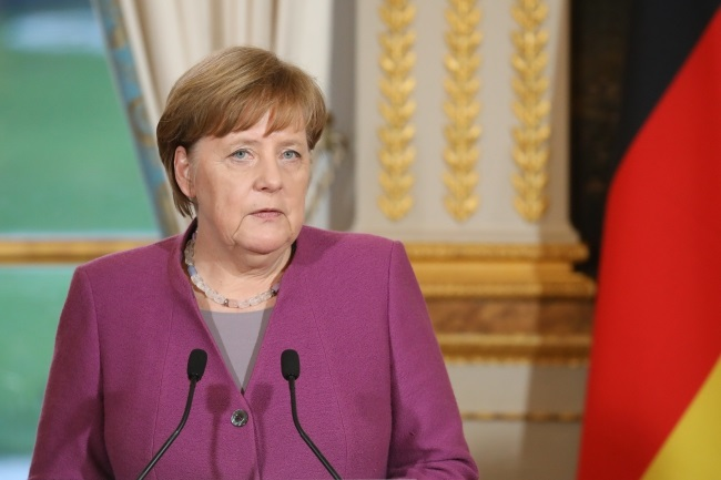 Angela Merkel at the Elysee presidential palace in Paris during a trip to France on March 16. Photo: EPA/LUDOVIC MARIN