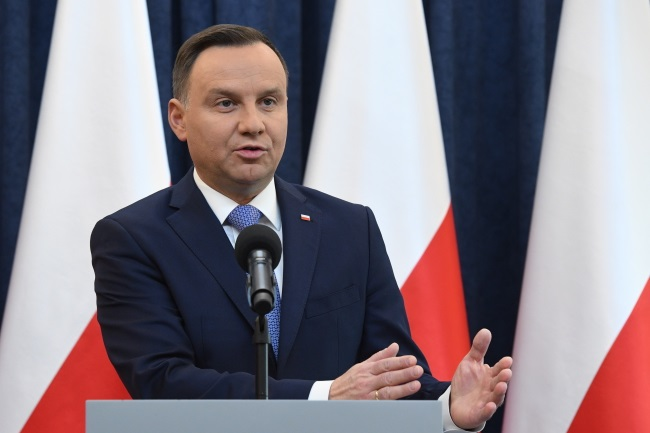 President Andrzej Duda announces his decision to veto the bill in Warsaw on Friday. Photo: PAP/Radek Pietruszka