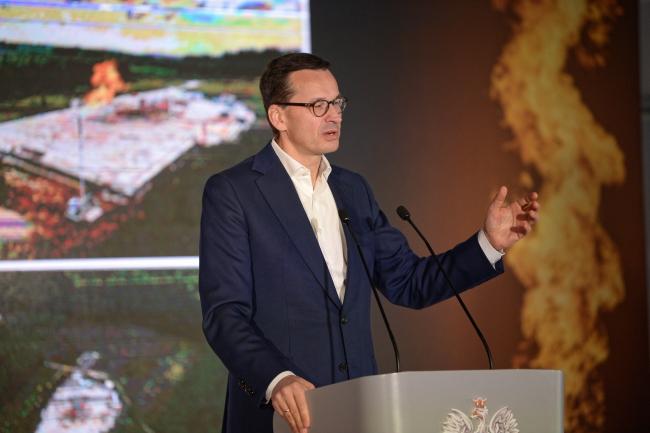Прем'єр-міністр Матеуш Моравєцький у Крамарівці (Kramarzówka), що на Підкарпатті, де виявлено велике газове родовище.