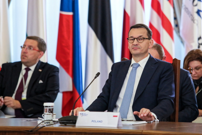 Polish Prime Minister Premier Mateusz Morawiecki at the Three Seas Initiative summit. Photo: PAP/Leszek Szymański