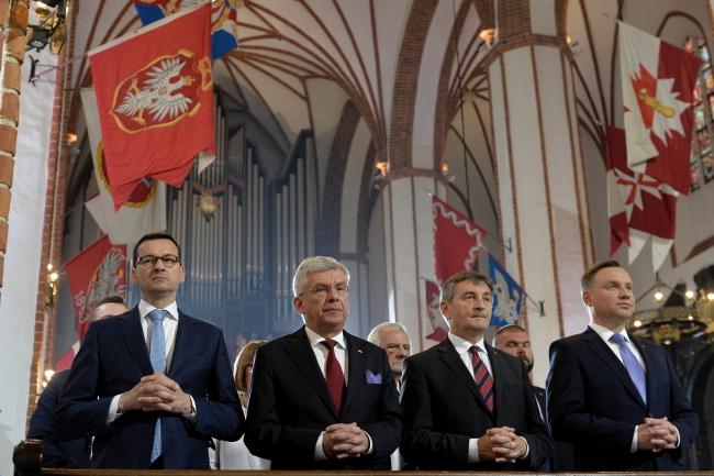 Prime Minister Mateusz Morawiecki, Senate Speaker Stanisław Karczewski, lower house Speaker Marek Kuchciński and President Andrzej Duda. Photo: PAP/Marcin Obara