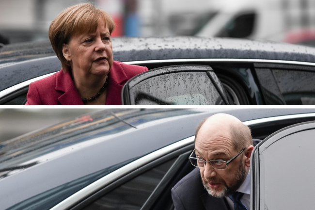 Лидер ХДС Ангела Меркель и лидер СДПГ Мартин Шульц.