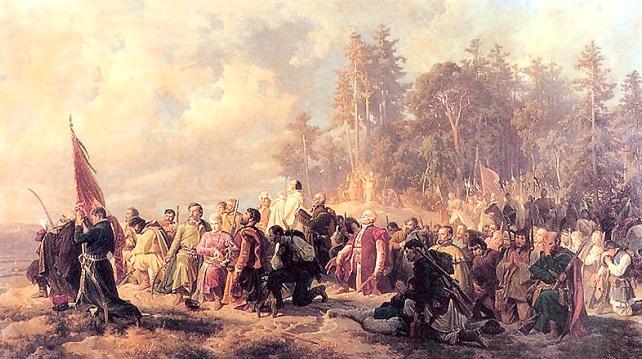 Молитва барських конфедератів перед битвою під Лянцкороною (23 травня 1771 року). Полотно Артура Ґроттґера