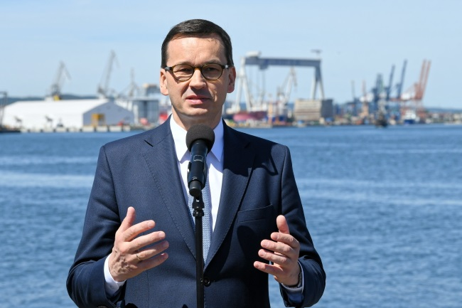 Prime Minister Mateusz Morawiecki gives a news conference in the Polish Baltic port of Gdynia on Monday.