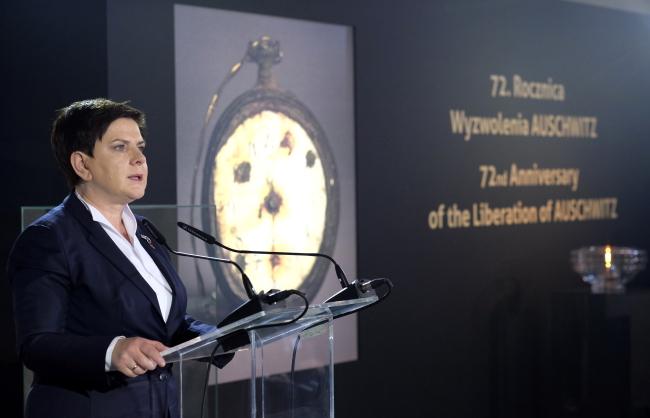 Polish Prime Minister Beata Szydło at Auschwitz. Photo: PAP/Andrzej Grygiel