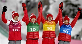 Польские прыгуны на лыжах завоевали бронзу в командном конкурсе в Пхёнчхане