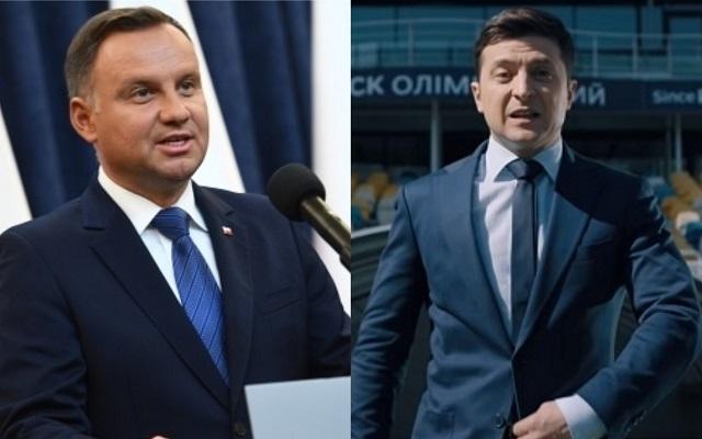 Президент Польши Анджей Дуда (слева) и президент Украины Владимир Зеленский (справа)