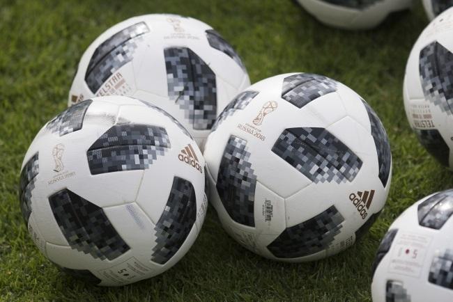 Adidas Telstar footballs, the official match ball for the FIFA World Cup 2018. Photo: EPA/DANIEL KOPATSCH