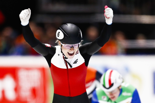 Poland's Natalia Maliszewska cheers after winning the 500-metre final at the European Short Track Championships in Dordrecht, the Netherlands, on Saturday. Photo: EPA/VINCENT JANNINK