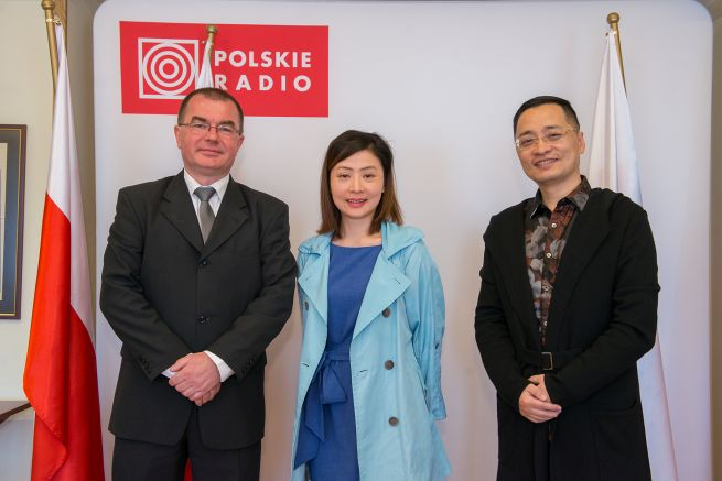 Polish Radio Vice President Mariusz Staniszewski; Love Radio Shanghai director Chen You Li; and David Ming Zhang, Love Radio Shanghai music director.