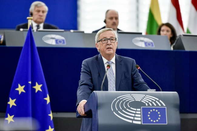 European Commission President Jean-Claude Juncker chairs key debate on the State of the Union at the European Parliament in Strasbourg, 13 September 2017. Photo: EPA/MATHIEU CUGNOT