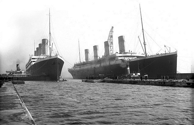 The Titanic (right), pictured on March 6, 1912, alongside sister ship The Olympic. Photo: Wikimedia Commons