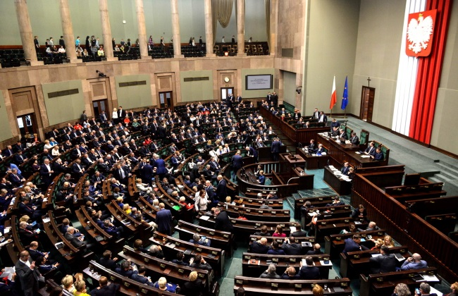 The lower house of Poland's parliament, the Sejm, in session on Wednesday. Photo: PAP/Jakub Kamiński