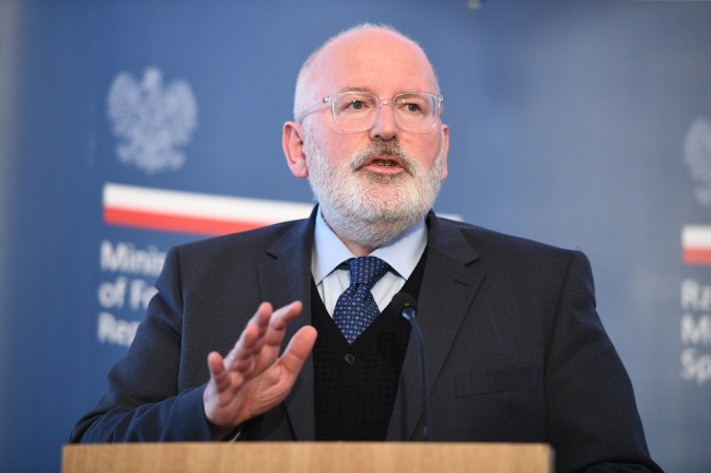 Frans Timmermans at a press conference in Warsaw. Photo: PAP/Jacek Turczyk