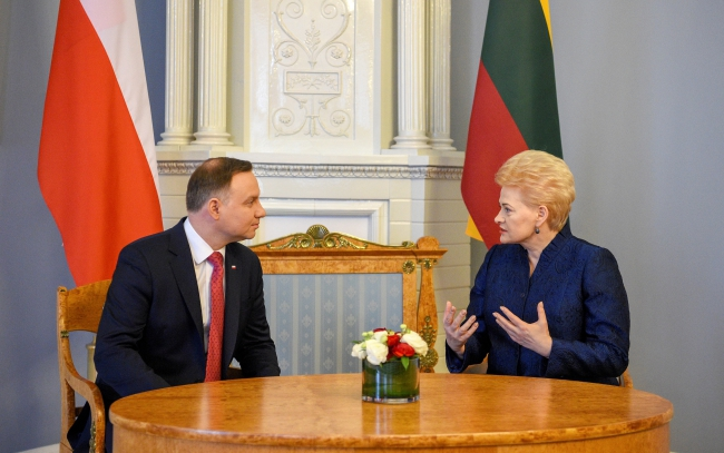 Lithuanian President Dalia Grybauskaite (R) and President of Poland Andrzej Duda during their meeting in Vilnius, Lithuania 17 February 2018. Photo: PAP/EPA.