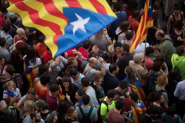 Демонстрации сторонников независимости Каталонии.