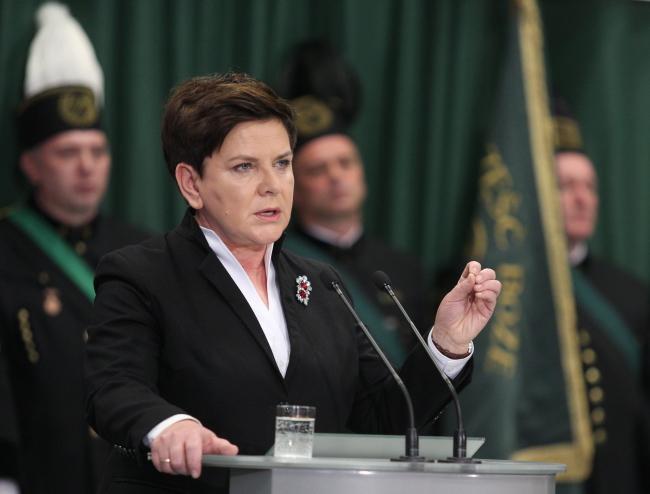 Polish Prime Minister Beata Szydło at Miner's Day celebrations. Photo: PAP/Andrzej Grygiel.