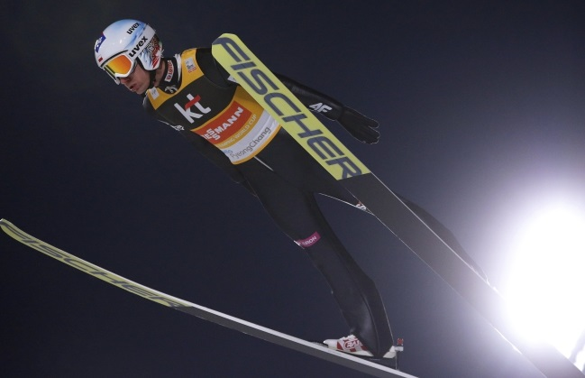 Kamil Stoch in action during the men's Large Hill Individual competition of the FIS Ski Jumping World Cup in PyeongChang. Photo: EPA/JEON HEON-KYUN