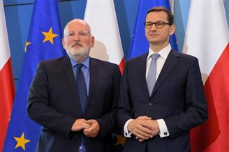 EU's Timmermans visits Warsaw for rule-of-law talks