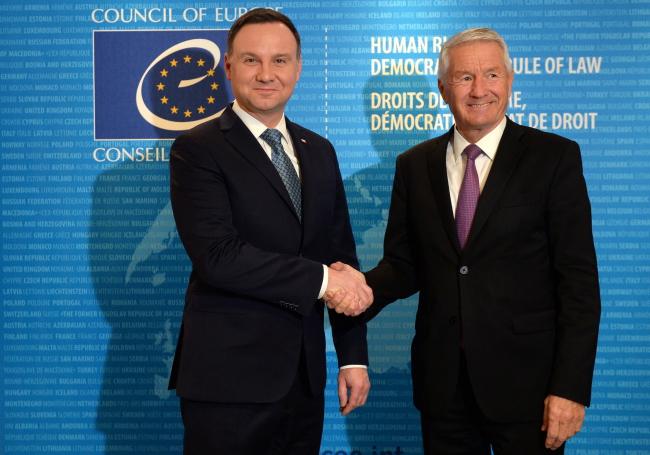 Президент Польши Анджей Дуда и председатель Совета Европы Торбьерн Ягланд