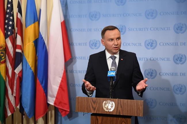 Президент Польши Анджей Дуда на форуме в штаб-квартире ООН, посвященном способам повышения эффективности ООН в решении международных конфликтов.