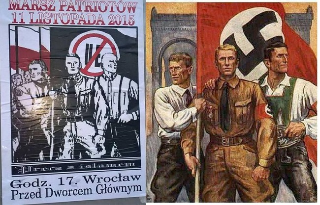 Poster of the Patriot March in Wrocław to be held on Wednesday, 11 November (L), juxtaposed with a 1930s Nazi propaganda poster (R). Photo: Facebook.com