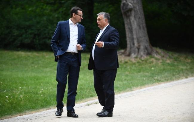 Премьеры Польши и Венгрии Матеуш Моравецкий и Виктор Орбан в Варшаве