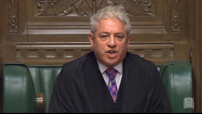 Спикер британского парламента Джон Беркоу в Палате общин после голосования по стратегии премьер-министра Терезы Мэй в Лондоне