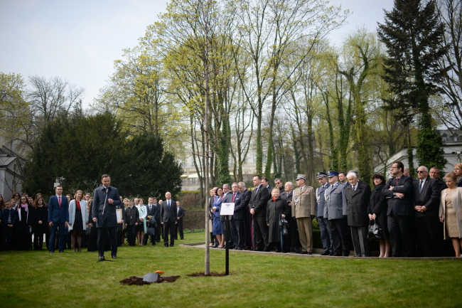 President Andrzej Duda (solitary on the left) during Wednesday's ceremony planting the Oak of Remembrance, Warsaw. Photo: PAP/Jacek Turczyk