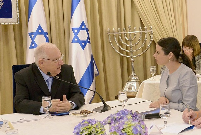Ayelet Shaked (right) and Reuven Rivlin, the President of Israel. Photo: Government Press Office of Israel/Wikimedia Commons